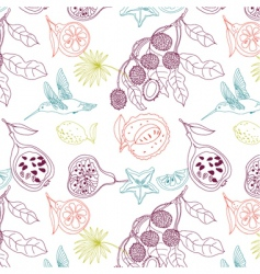 exotic fruits background vector image vector image