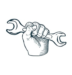 Hand drawn sketch vintage Hand with Wrench vector image