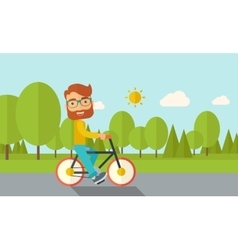 Man riding a bicycle vector image