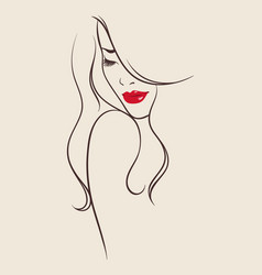 beauty salon design portrait of beautiful woman vector image