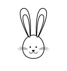 cute easter bunny face line vector image vector image