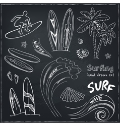 Set of doodle sketch Surfing sport icons vector image vector image