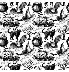 Sketch Halloween seamless pattern vector image vector image
