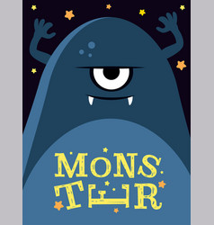 with angry monster vector image