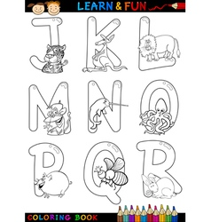 Cartoon Alphabet with Animals for coloring vector image vector image