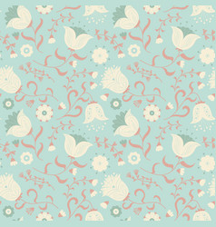 cute wallpaper with beauty flat style flowers vector image vector image