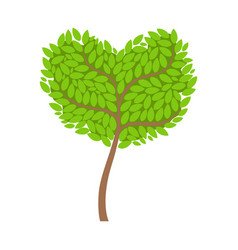 green tree with a heart shaped crown element of a vector image vector image