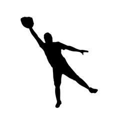 monochrome silhouette with baseball catcher vector image vector image