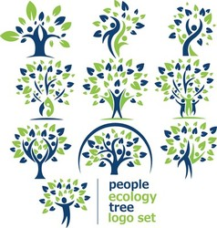 people ecology tree logo set vector image