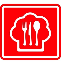 red restaurant icon with cook hat and utensil vector image