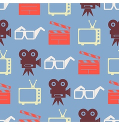 Seamless background with cinema symbols vector image