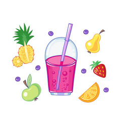 set of drink and fruits vector image