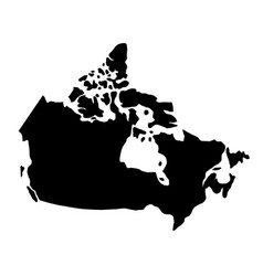 black silhouette country borders map of canada on vector image