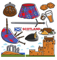 scotland uk travel tourism landmarks and famous vector image vector image