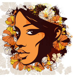 woman face decorated with flowers on the vector image vector image