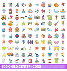 100 child center icons set cartoon style vector