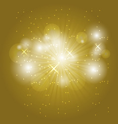 Abstract ray light on golden background vector