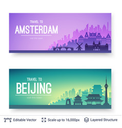 Amsterdam and beijing famous city scapes vector