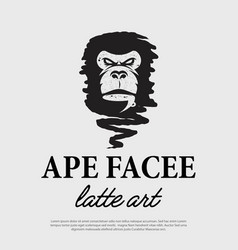 ape face with a cup coffee logo vector image