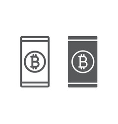 bitcoin app line and glyph icon finance vector image