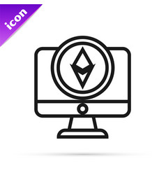 Black line monitor and cryptocurrency coin vector
