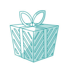 blue shading silhouette cartoon christmas giftbox vector image