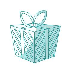 blue shading silhouette cartoon christmas giftbox vector image vector image