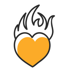 Burning heart symbol vector