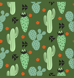 Cactus plant seamless pattern abstract vector