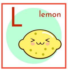 Cartoon fruit alphabet flashcard l is for lemon vector
