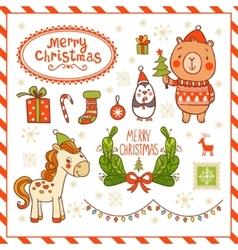 Cartoon new year texture vector image