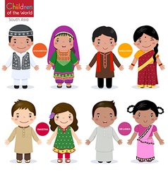 Children of the world Afghanistan Bangladesh vector image
