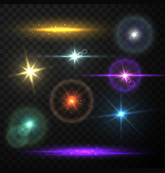 Collection realistic lens flare light vector