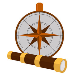 Columbus day poster with compass and spyglass vector
