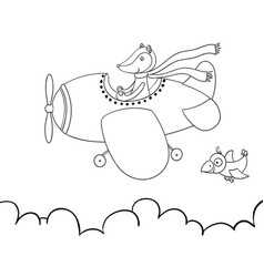 cute cartoon fox flying on airplane awesome vector image