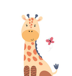 Cute giraffe and flying butterfly vector