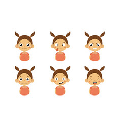 cute girl facial emotions set kids face with vector image