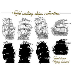 design set with old sailing ships vector image