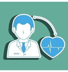 Doctor with cardiology isolated icon design vector