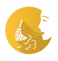 Dust allergy flat design long shadow glyph icon vector