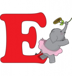 E is for elephant vector
