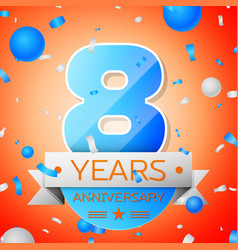 Eight years anniversary celebration vector