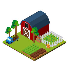 Farm scene with barn and crops in 3d design vector