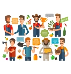 Farmer horticulturist or farming icons set vector