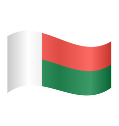 Flag of madagascar waving on white background vector
