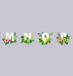 Floral alphabet paper cut m vector
