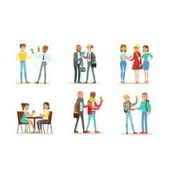 friends and colleagues spending good time together vector image