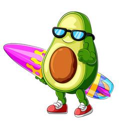 Funny avocado cartoon surfing vector