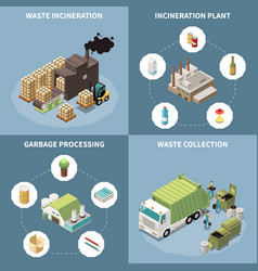garbage recycling isometric icon set vector image
