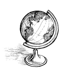 Globe on a sketch stand vector
